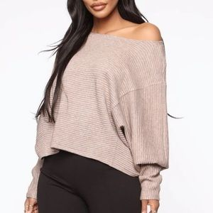 Fashion Nova Easy Everyday Ribbed Knit Sweater Top